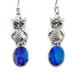 3.13cts natural blue doublet opal australian 925 silver owl earrings r48178