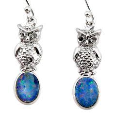 2.92cts natural blue doublet opal australian 925 silver owl earrings r48197
