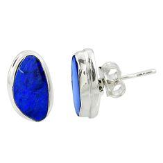5.20cts natural blue doublet opal australian 925 silver stud earrings r39505