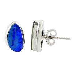 4.62cts natural blue doublet opal australian 925 silver stud earrings r39534
