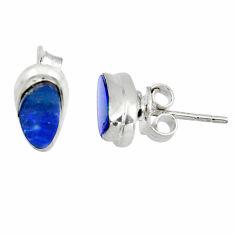 4.26cts natural blue doublet opal australian 925 silver stud earrings r45036