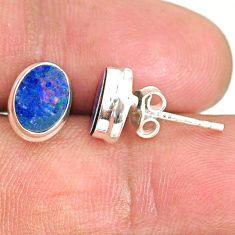 3.65cts natural blue doublet opal australian 925 silver stud earrings r84828