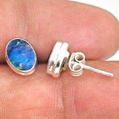 3.39cts natural blue doublet opal australian 925 silver stud earrings r84830