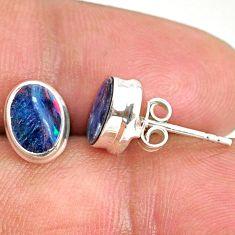 3.57cts natural blue doublet opal australian 925 silver stud earrings r84834