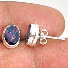 3.70cts natural blue doublet opal australian 925 silver stud earrings r84836