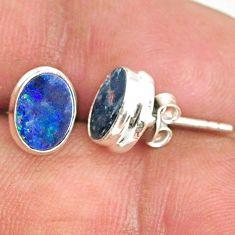 3.34cts natural blue doublet opal australian 925 silver stud earrings r84839