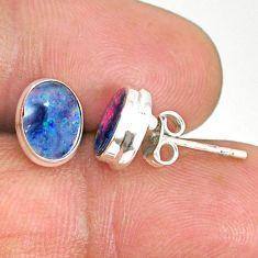 3.72cts natural blue doublet opal australian 925 silver stud earrings r84840