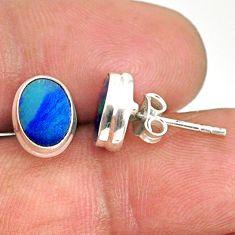 3.13cts natural blue doublet opal australian 925 silver stud earrings r84848