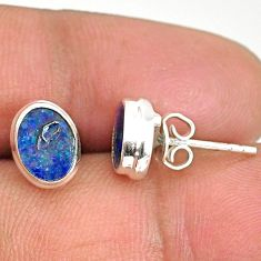 3.04cts natural blue doublet opal australian 925 silver stud earrings r84849