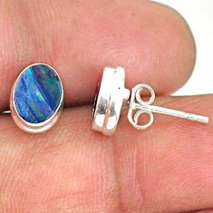 3.04cts natural blue doublet opal australian 925 silver stud earrings r84851