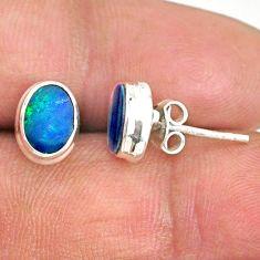 3.04cts natural blue doublet opal australian 925 silver stud earrings r84860