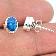 2.04cts natural blue doublet opal australian 925 silver stud earrings t19732