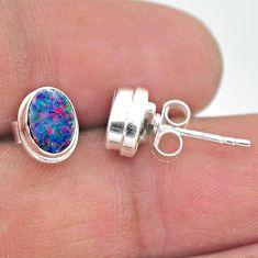 2.05cts natural blue doublet opal australian 925 silver stud earrings t19733