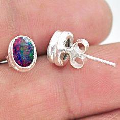 2.04cts natural blue doublet opal australian 925 silver stud earrings t19735