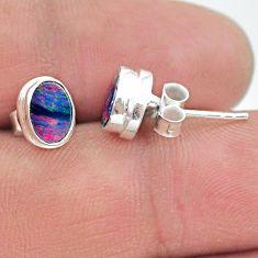 1.90cts natural blue doublet opal australian 925 silver stud earrings t19739