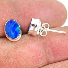 2.69cts natural blue doublet opal australian 925 silver stud earrings t3482