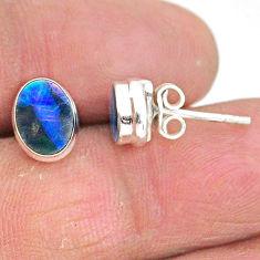 2.71cts natural blue doublet opal australian 925 silver stud earrings t3485