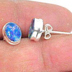 2.72cts natural blue doublet opal australian 925 silver stud earrings t3486