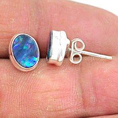 2.74cts natural blue doublet opal australian 925 silver stud earrings t3488