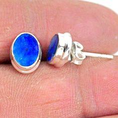 2.60cts natural blue doublet opal australian 925 silver stud earrings t3497
