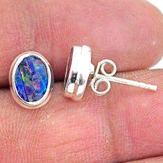 2.71cts natural blue doublet opal australian 925 silver stud earrings t3500