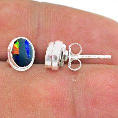 2.27cts natural blue doublet opal australian 925 silver stud earrings t39622