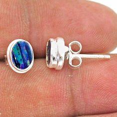 2.23cts natural blue doublet opal australian 925 silver stud earrings t39651