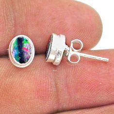 2.15cts natural blue doublet opal australian 925 silver stud earrings t39657