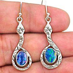 3.22cts natural blue doublet opal australian 925 sterling silver earrings t32972