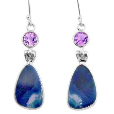 8.05cts natural blue doublet opal australian amethyst 925 silver earrings r26912