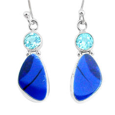 8.49cts natural blue doublet opal australian topaz 925 silver earrings r72685