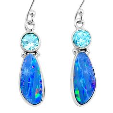 8.07cts natural blue doublet opal australian topaz 925 silver earrings r72686