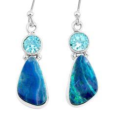 8.11cts natural blue doublet opal australian topaz 925 silver earrings r72705