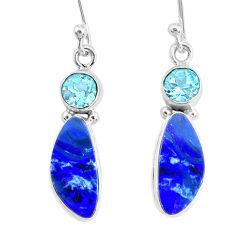 8.09cts natural blue doublet opal australian topaz 925 silver earrings r72708