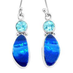 7.66cts natural blue doublet opal australian topaz 925 silver earrings r72709