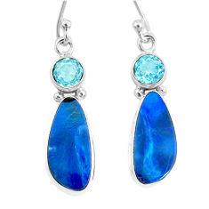7.66cts natural blue doublet opal australian topaz 925 silver earrings r72710