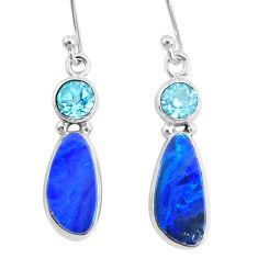 7.66cts natural blue doublet opal australian topaz 925 silver earrings r72715