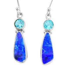 7.64cts natural blue doublet opal australian topaz 925 silver earrings r72716