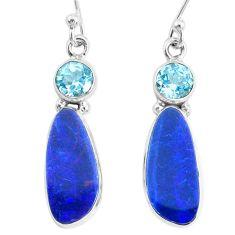 9.58cts natural blue doublet opal australian topaz 925 silver earrings r72724