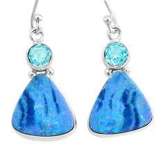 10.70cts natural blue doublet opal australian topaz 925 silver earrings r72730