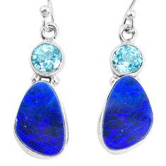 7.64cts natural blue doublet opal australian topaz 925 silver earrings r72739