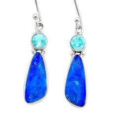 8.09cts natural blue doublet opal australian topaz 925 silver earrings r72837