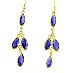 7.87cts natural blue iolite 925 sterling silver 14k gold dangle earrings r33195