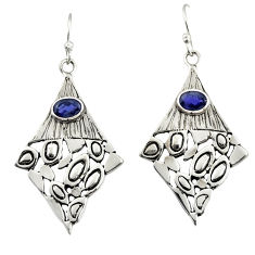 3.01cts natural blue iolite 925 sterling silver dangle earrings jewelry d47171