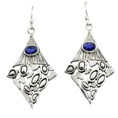 2.92cts natural blue iolite 925 sterling silver dangle earrings jewelry d47172