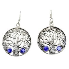 2.41cts natural blue iolite 925 sterling silver tree of life earrings d47105