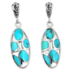 10.85cts natural blue kingman turquoise 925 silver dangle earrings c10586