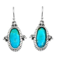 7.54cts natural blue kingman turquoise oval 925 silver dangle earrings c10574