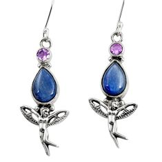 Clearance Sale- 9.72cts natural blue kyanite 925 silver angel wings fairy earrings d40495