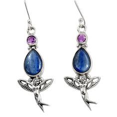 Clearance Sale- 9.71cts natural blue kyanite 925 silver angel wings fairy earrings d40498